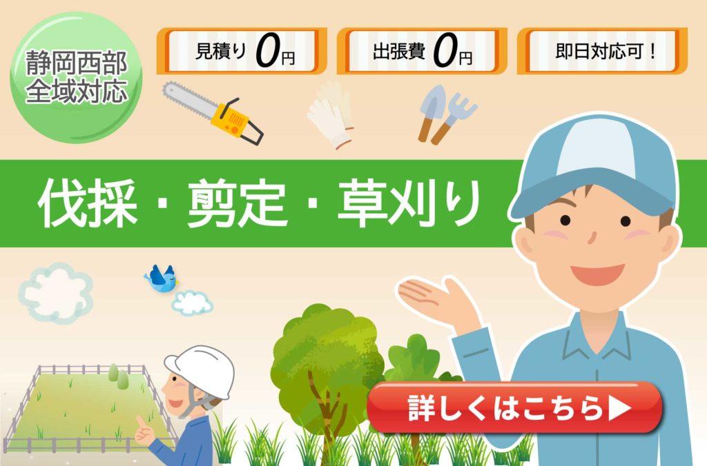 浜松市や磐田市、掛川市の伐採や剪定、草刈りなら風丸へ