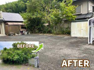 【藤枝市】剪定や伐採、抜根からの整地、砂利敷き作業