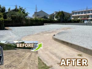 浜松市南区の防草シート砂利敷き